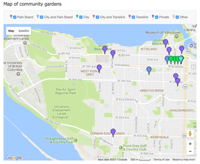 Vancouver community gardens map